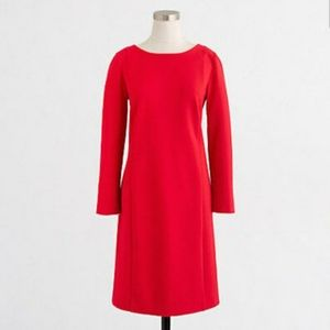 J. CREW Red Long Sleeve Stretch Pointe Dress